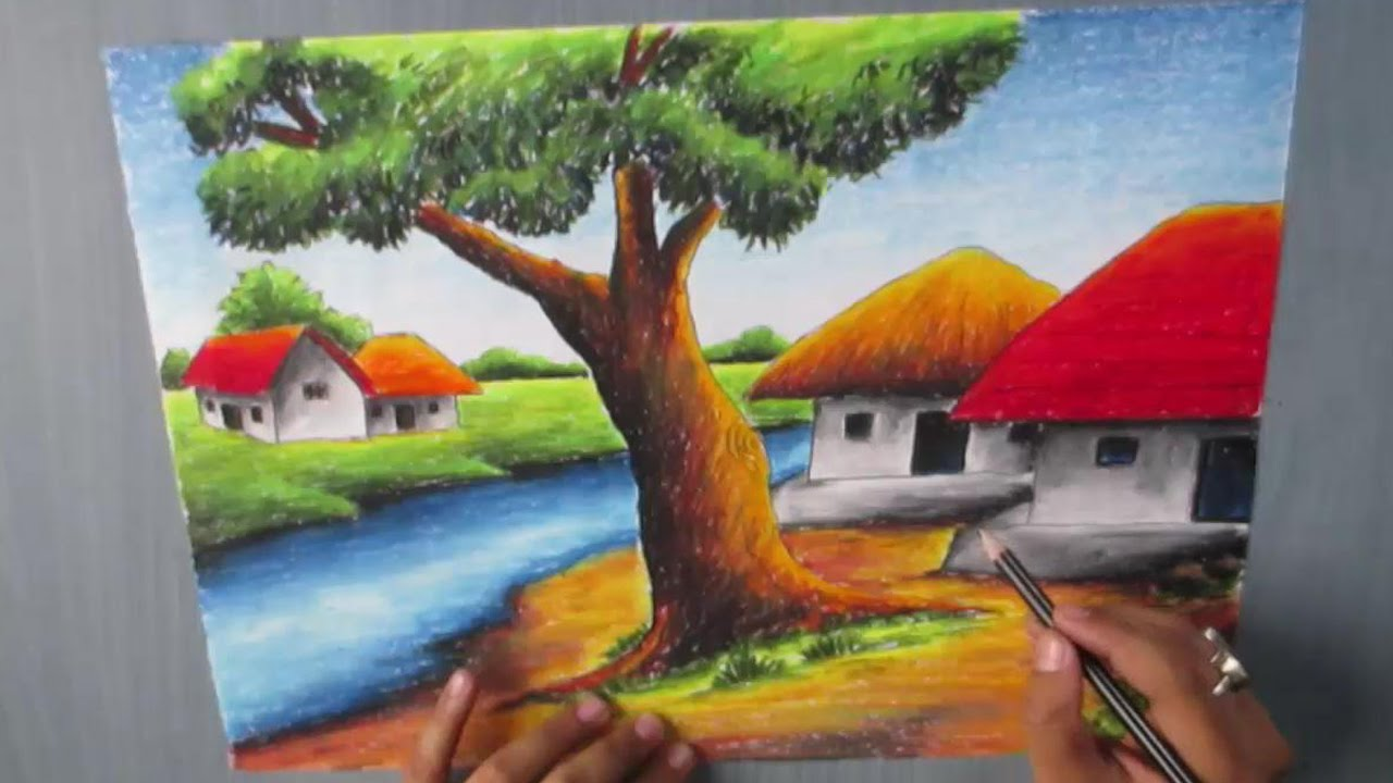 Drawn scenic oil painting Village  landscape YouTube Pastel