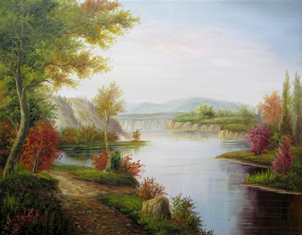 Drawn scenic oil painting Paint Handpainted Parlor Canvas Scenery