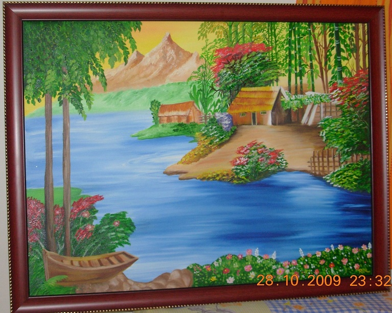 Drawn scenic oil painting Leave Posted a beautiful in