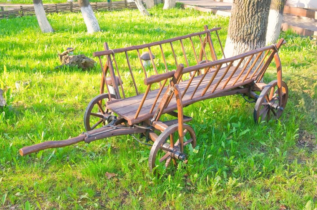 Drawn scenic old #10960693 wagon at horse —