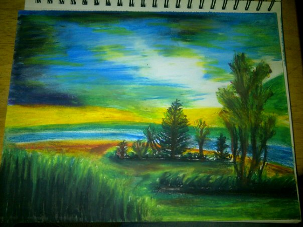 Drawn scenic pastel Pastel crafts  by Pastel