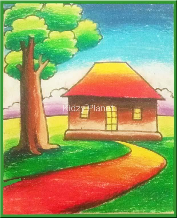 Drawn scenic pastel Simple Pastel Oil for kids
