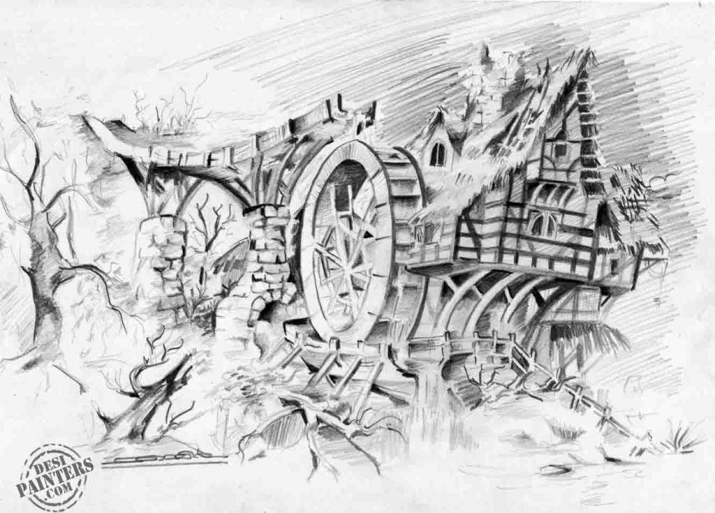 Drawn scenic pencil sketching Drawing pencil sketches pencil by
