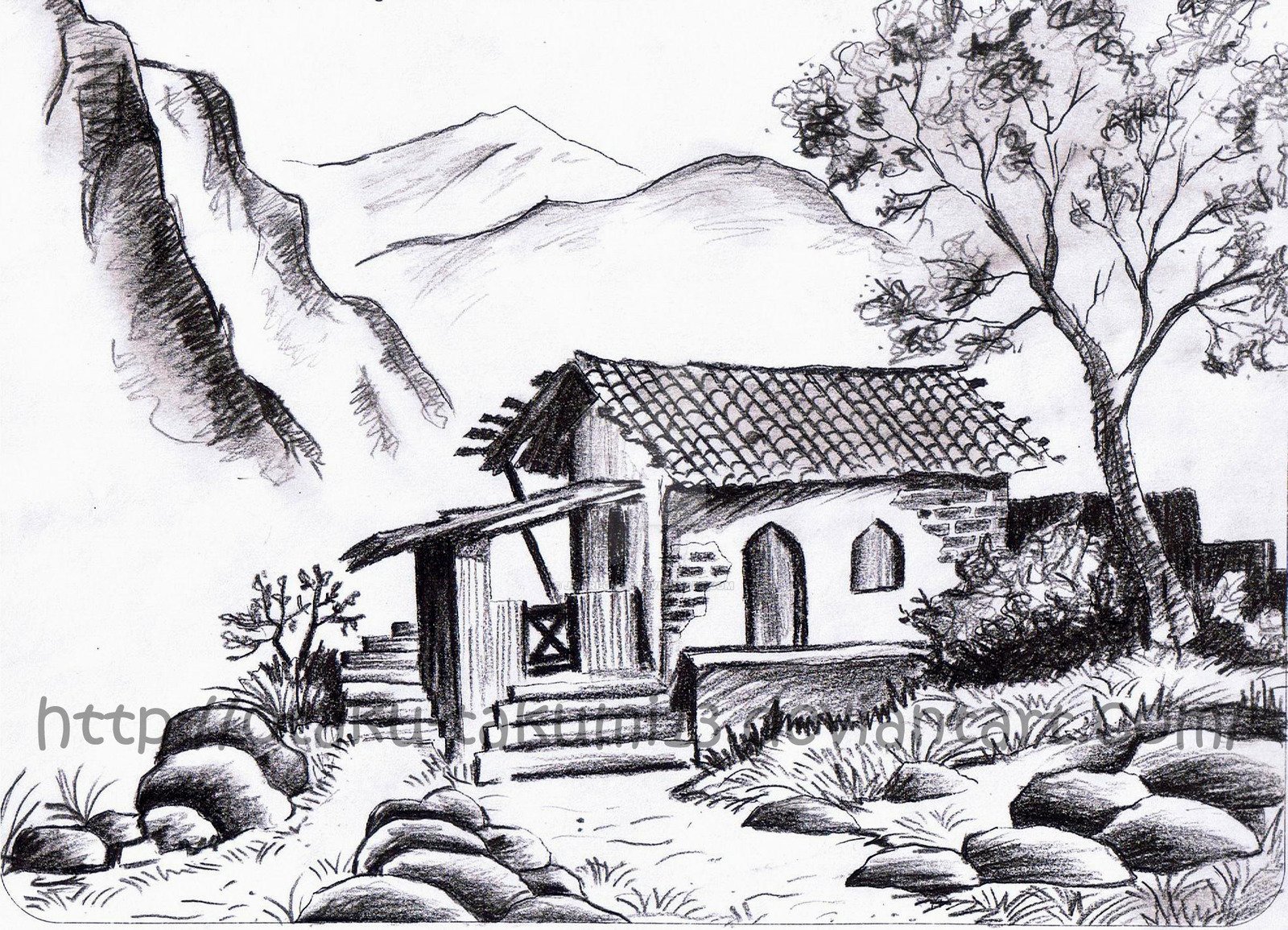 Drawn scenic pencil sketching By drawing Of easy