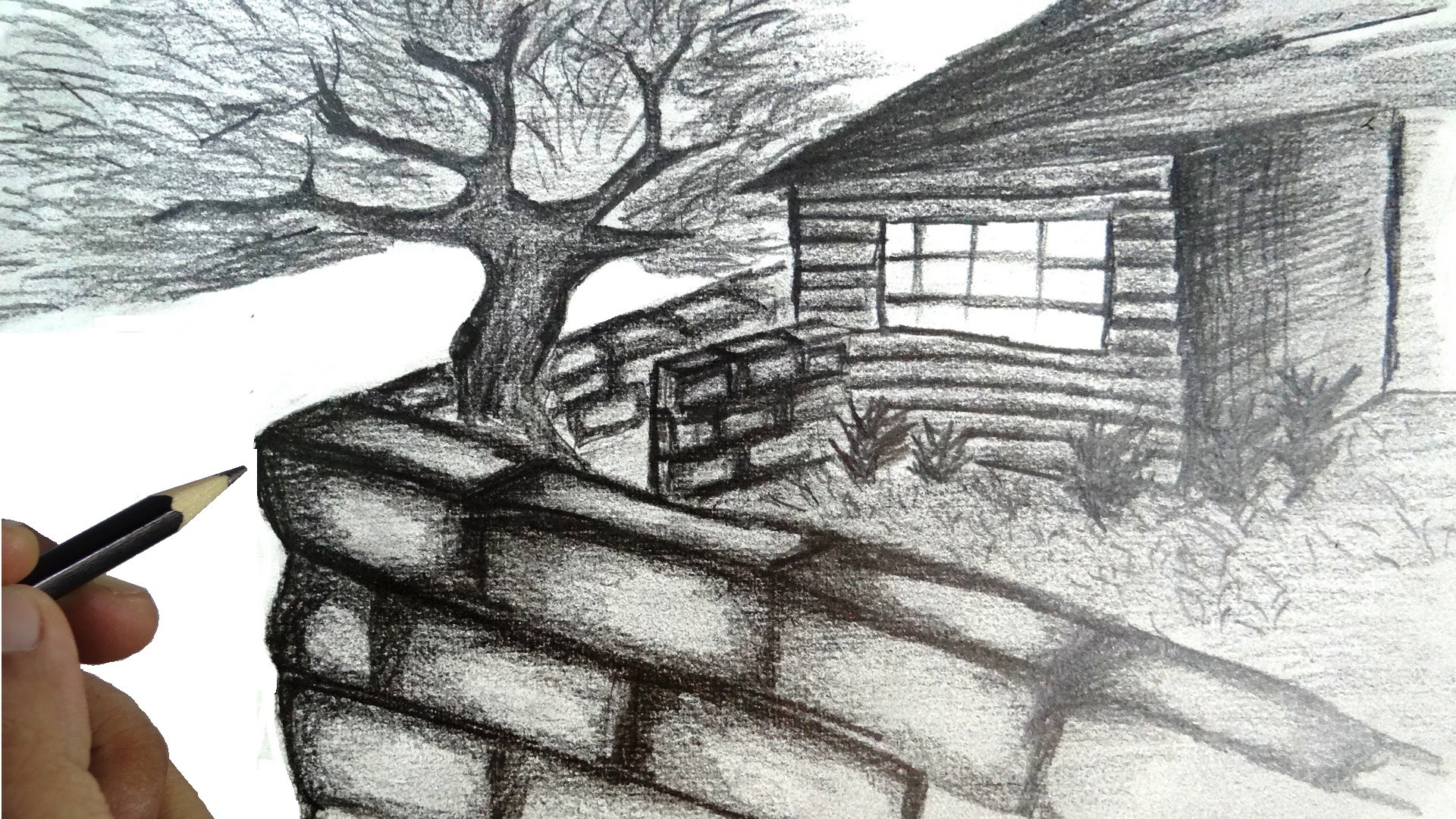 Drawn scenery sketch Draw a house with How