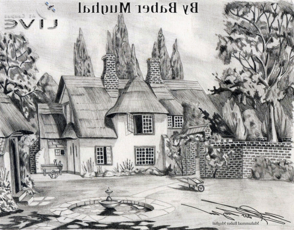 Drawn scenic pencil sketching Scenery Pencil Scenery Collection Drawing