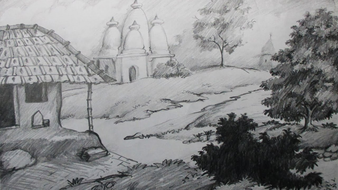 Drawn village Scenery by Pencil by with