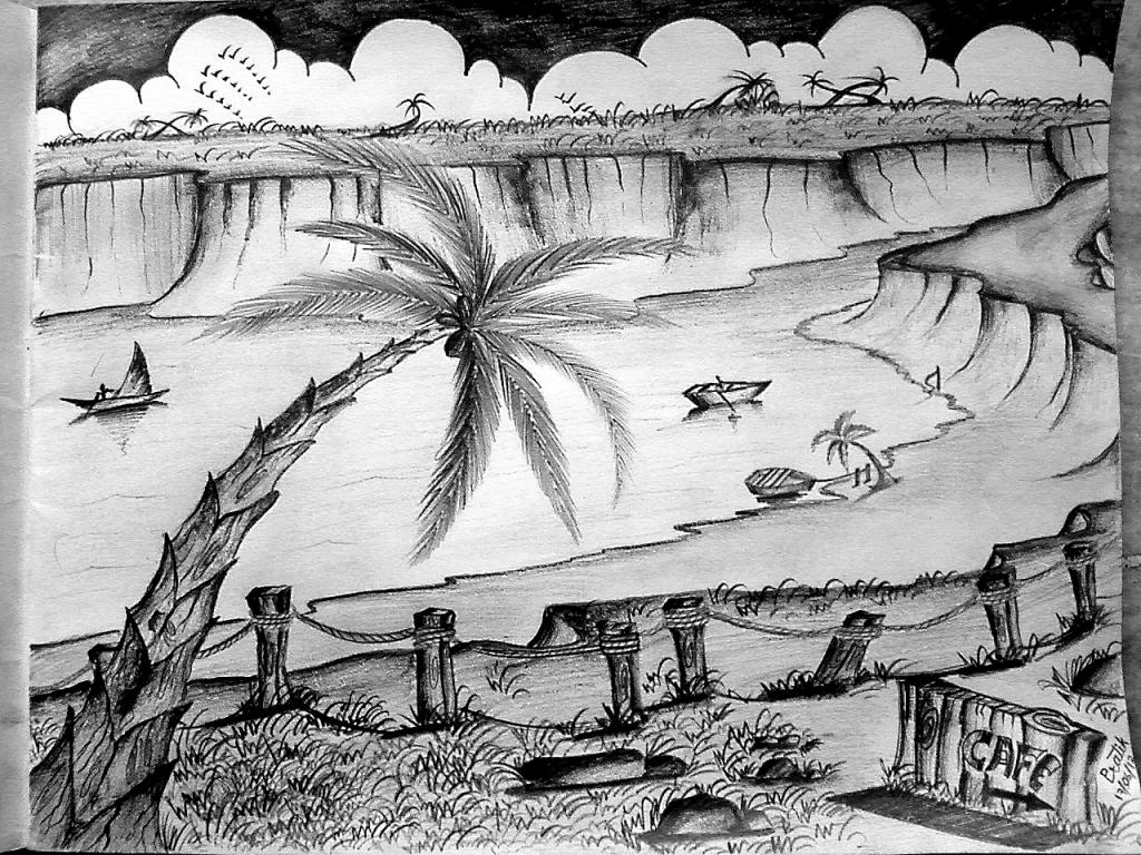 Drawn scenic pencil sketching Library  Drawing Pencil Drawings