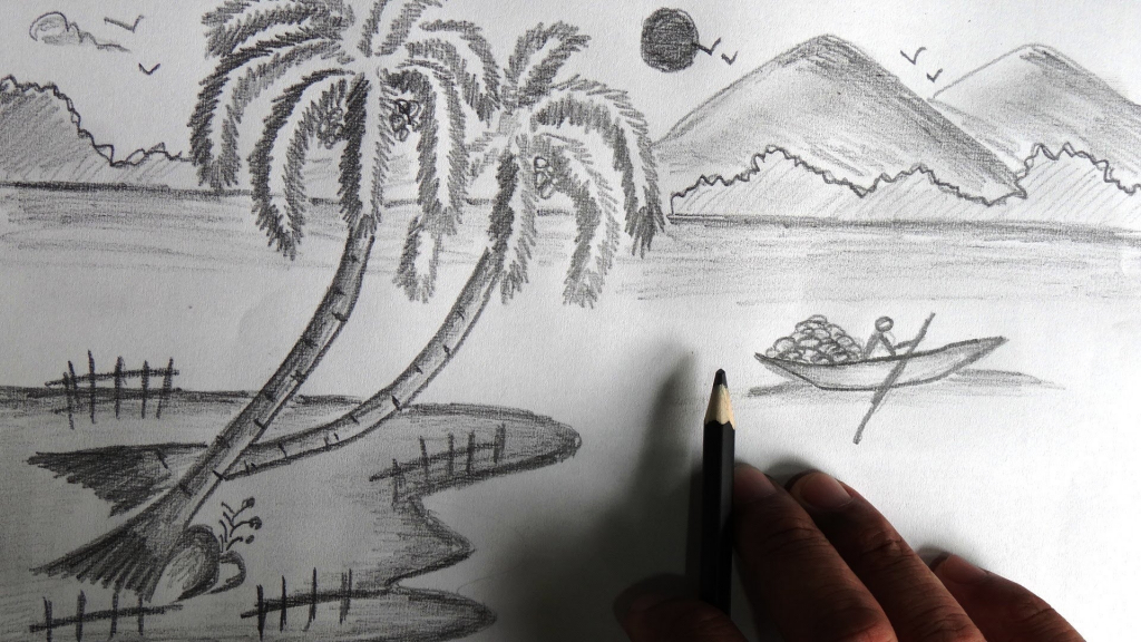 Drawn scenic pencil sketching Scenery Pencil Pencil Collection Drawing