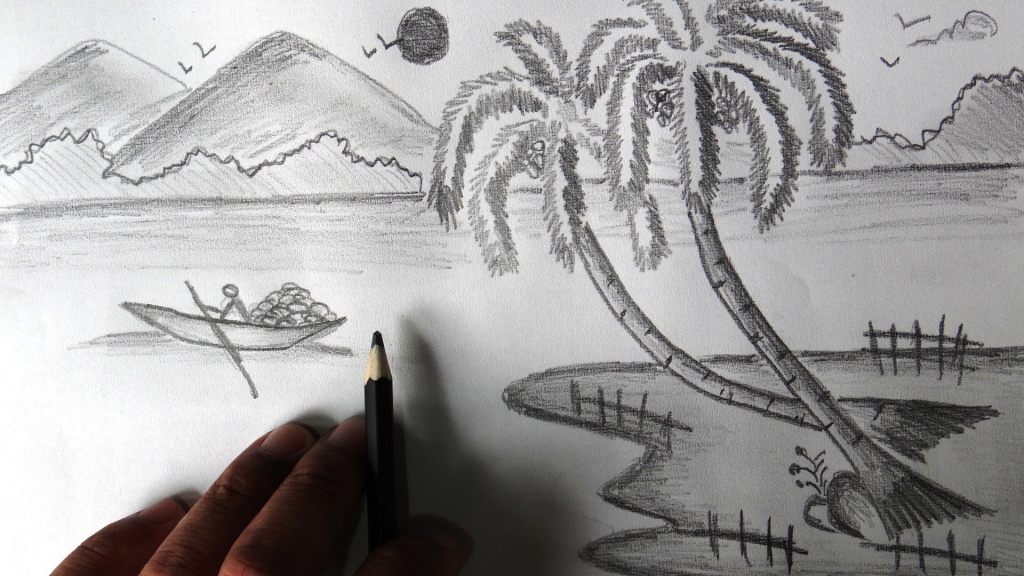 Drawn scenery sketch Pencil Pencil Drawing Drawing Pencil