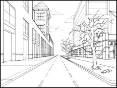 Drawn scenic perspective For Perspective and of