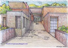 Drawn scenic perspective Free buildings DRAW DRAW SKETCH