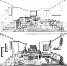 Drawn scenic perspective Elements online Design a and