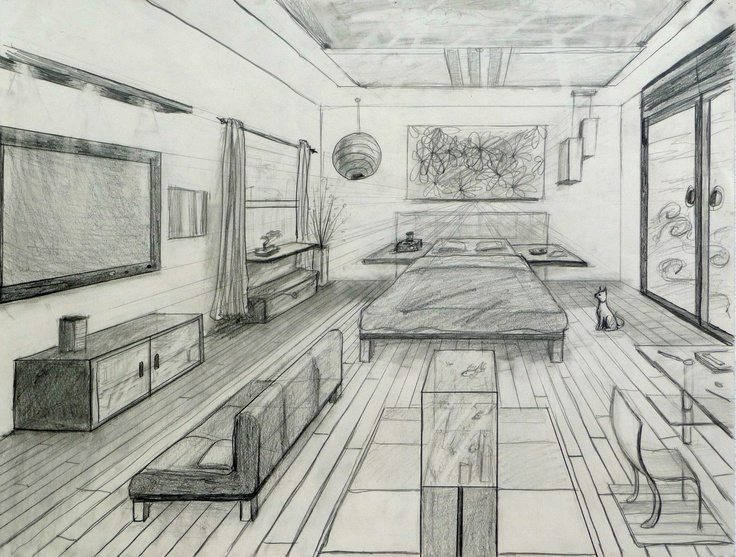 Drawn room one point perspective 1 images best pt Point