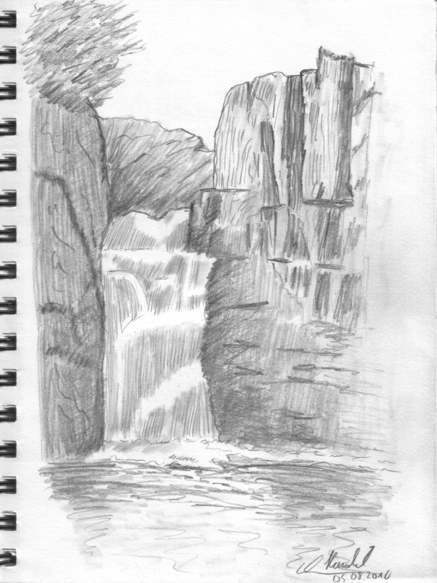 Drawn scenic portrait Waterfall Lesson: Drawing Lesson: 001