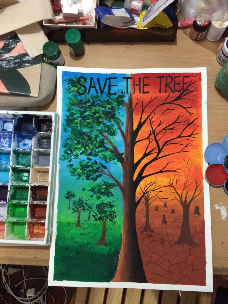 Drawn scenic poster colour Colour tree :) tree the