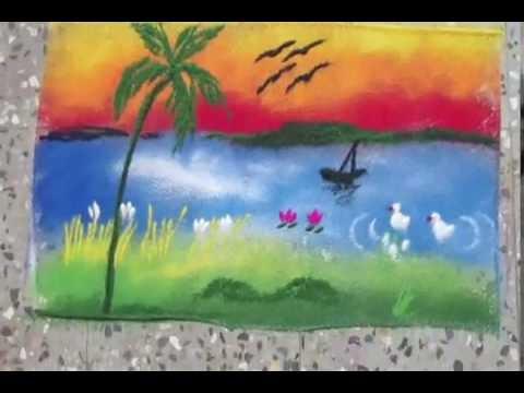 Drawn scenery rangoli Draw rangoli 5 5 Draw