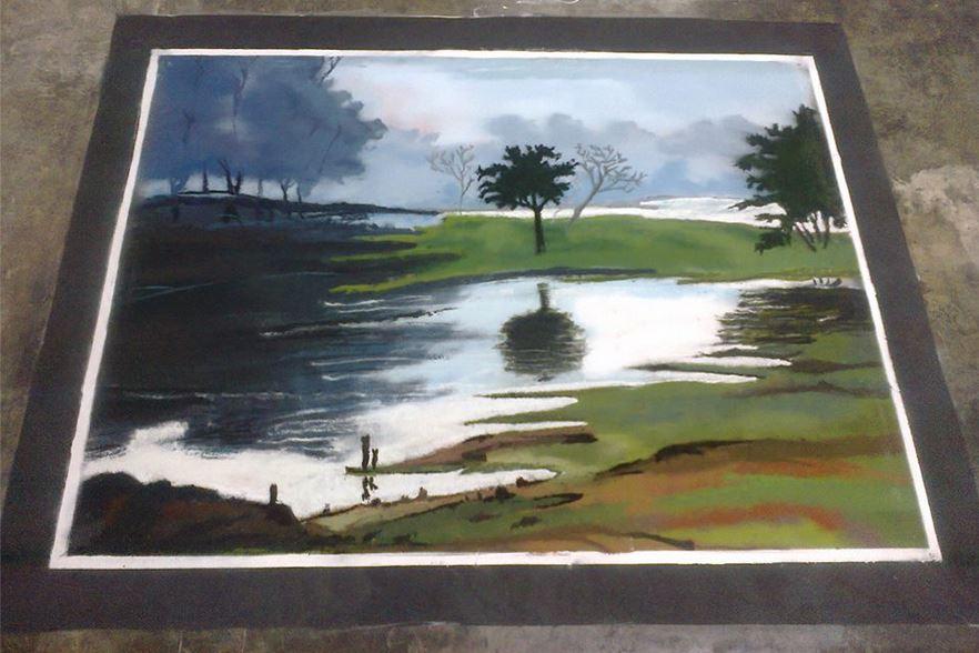 Drawn scenery rangoli Holi Rangoli for Rangoli Poster