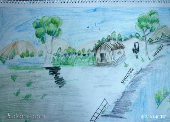 Drawn scenery rangoli IKolam Scenery com www freehand
