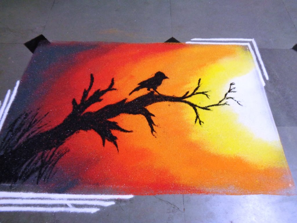 Drawn scenery rangoli To sunset YouTube rangoli how