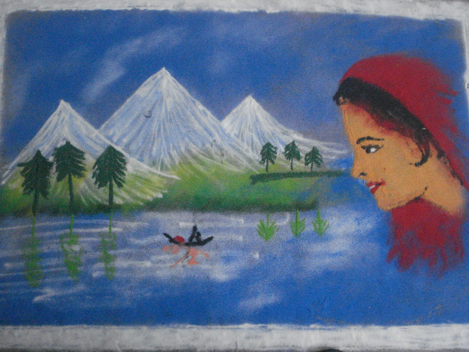 Drawn scenery rangoli Draw poster by designs with