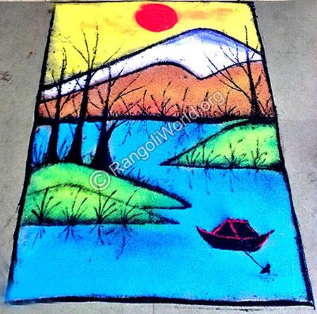 Drawn scenery rangoli Theme Natural Rangoli rangoli boat