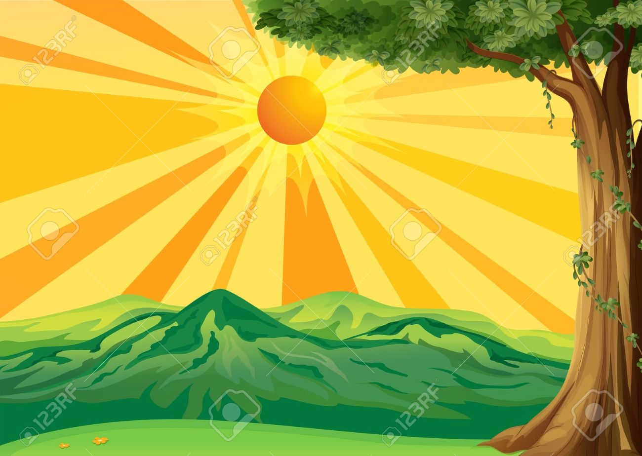 Drawn scenery rising sun Clipart Free Sun Free on