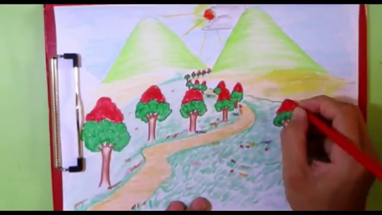 Drawn scenery rising sun Kids and  Channel#14 drawing