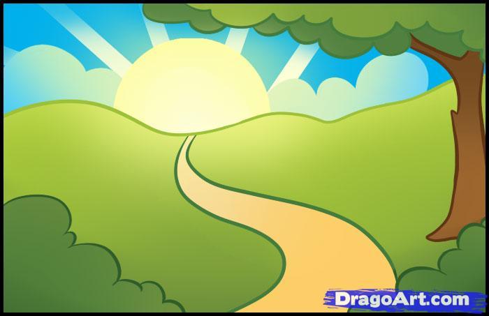 Drawn scenery sunrise Landmarks how Step Landscapes How