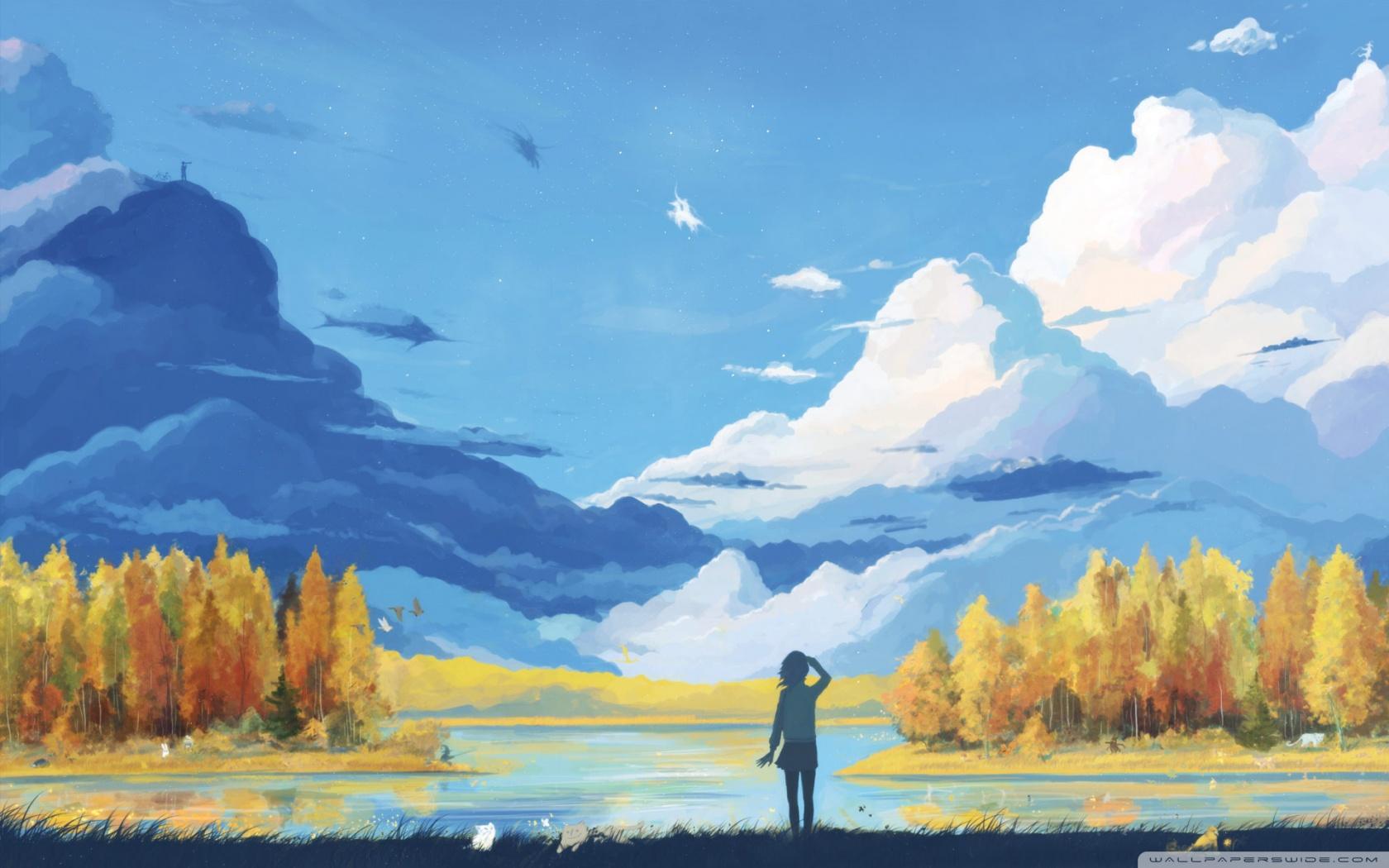 Drawn scenic senary Wallpaper : Painting Definition Fall