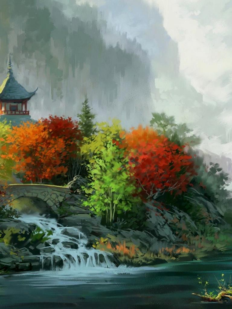 Drawn scenic senary Drawing Ipad 768x1024 wallpaper Scenic