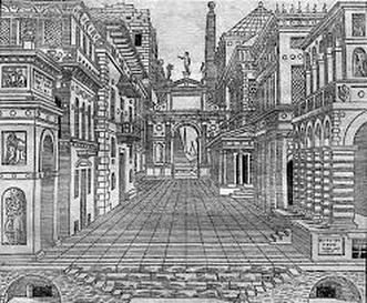 Drawn scenery perspective The Italian stage Renaissance of