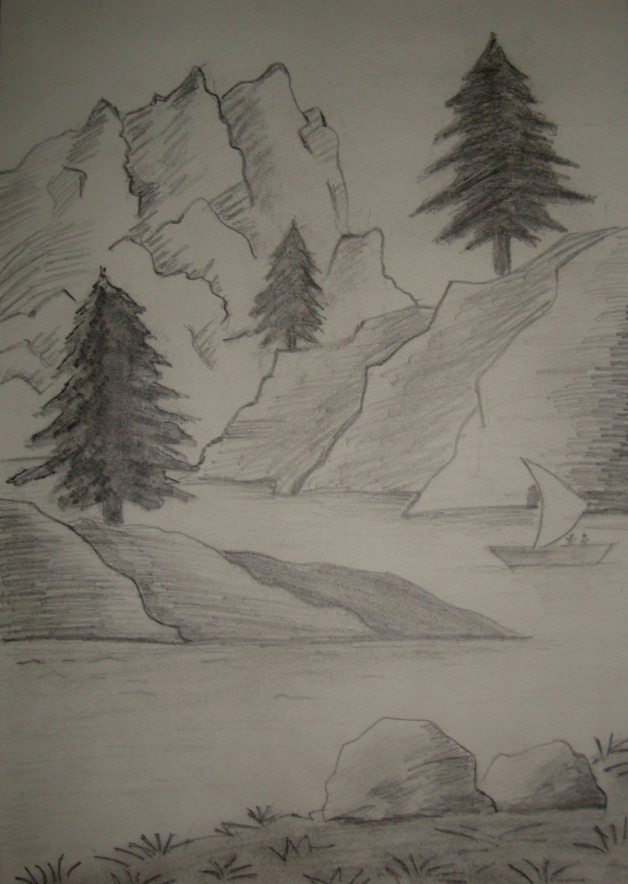 Drawn scenery shading Beautiful house to Pencil shading
