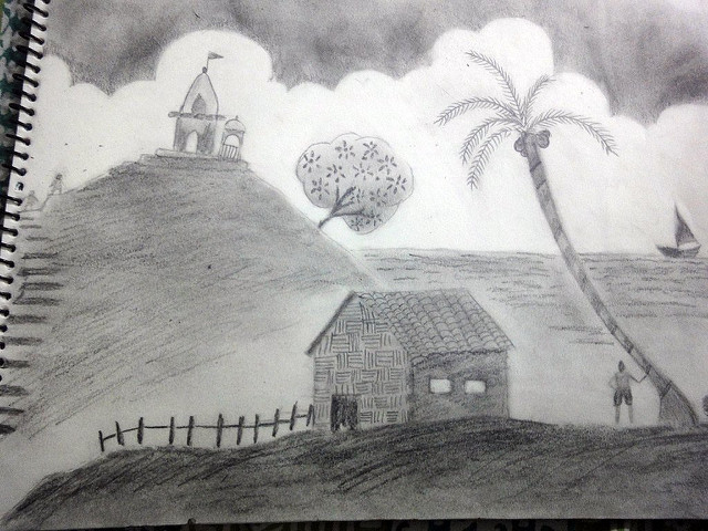 Drawn scenic shading PENCIL art Scenery scenery drawing