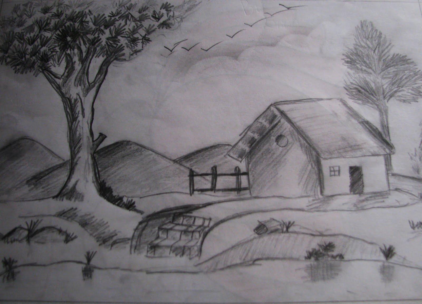 Drawn scenery shading Easy Pencil Art Yahoo Yahoo