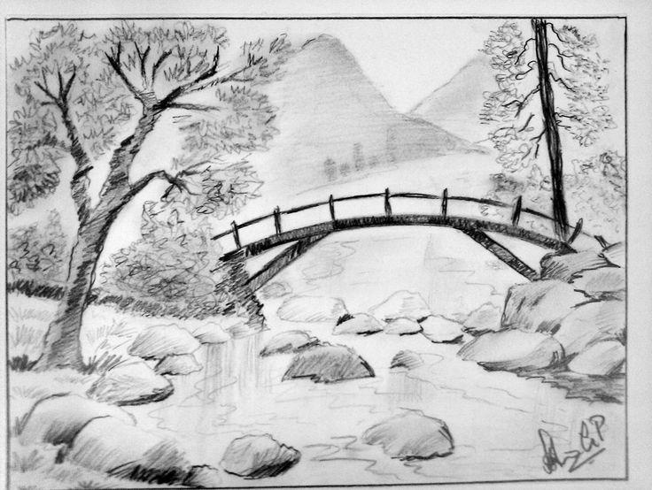 Drawn scenic simple And pencil pencil drawing