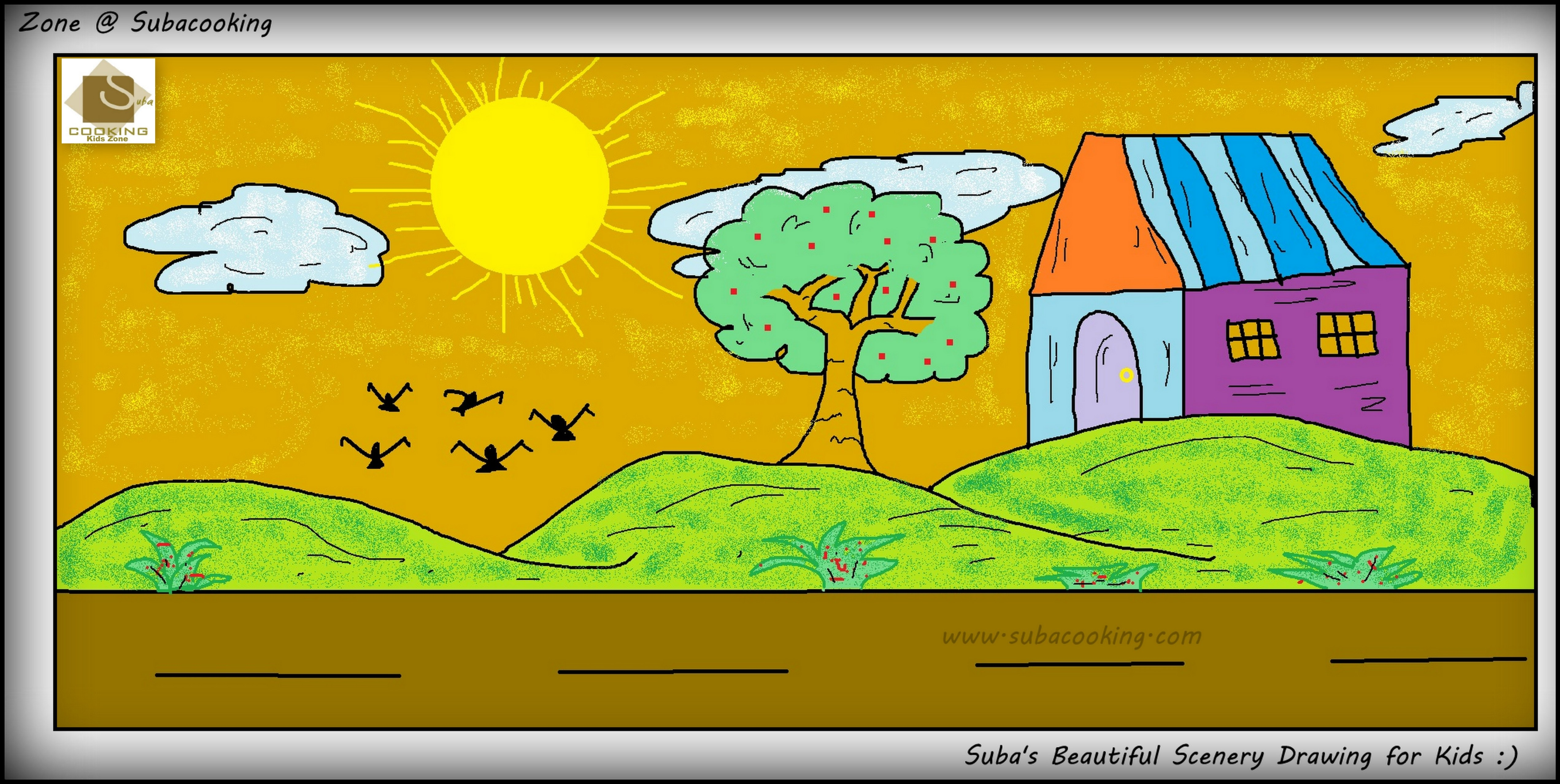 Drawn scenery for kid scenery Using Kids Scenery Easy Editable
