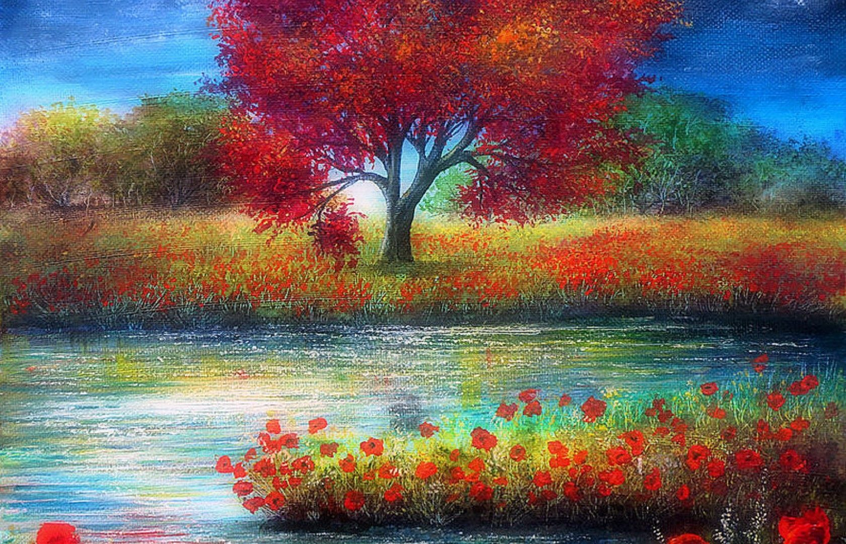 Drawn scenic spring scenery Page Colors Lovely Attractions Paintings