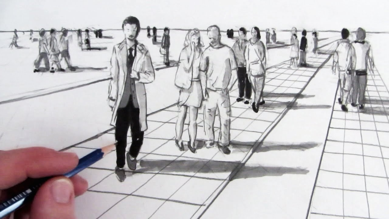 Drawn scenic street view How YouTube in People Perspective