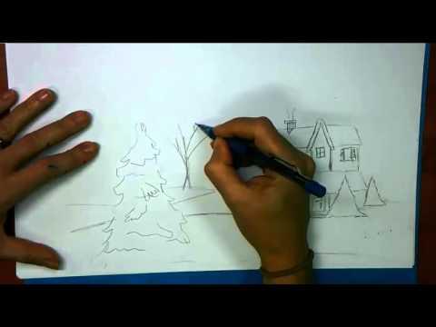 Drawn scenic summer season Scene a to Draw How