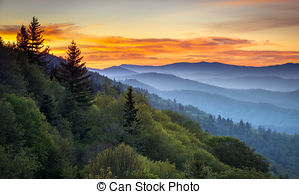 Drawn scenic sunrise Free Mountains Park Smoky 636