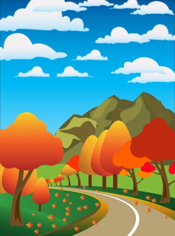 Drawn scenic vector Vectors Countryside cartoon style