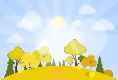 Drawn scenic vector Illustration Beautiful and trees