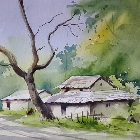 Drawn scenery water colour #watercolor #drawing #india  #chandigarh