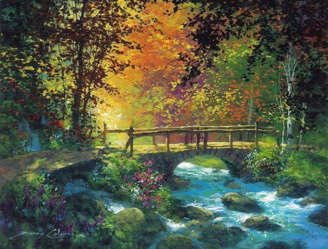 Drawn scenery color Pencil Water life from painting