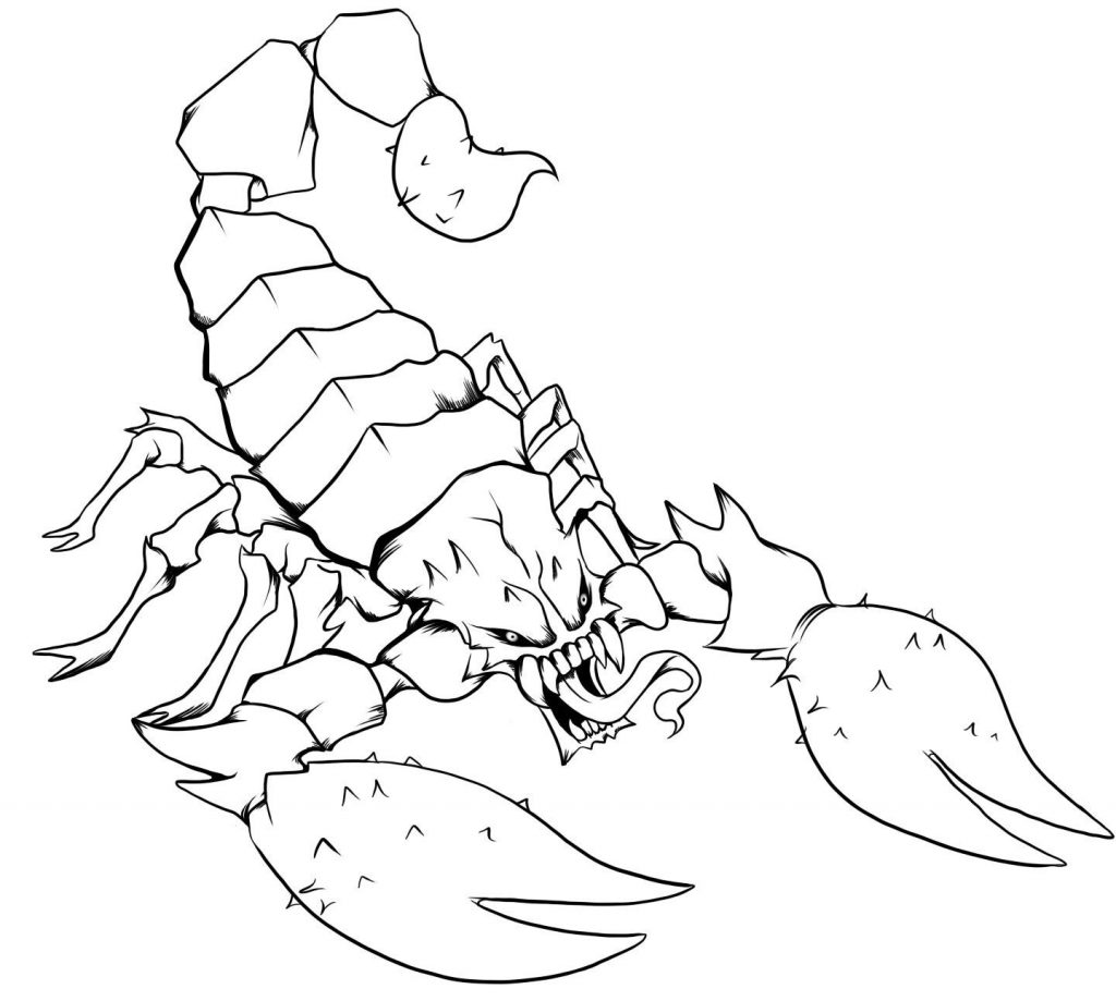 Drawn scorpion coloring Coloring sheets animals pages scorpion