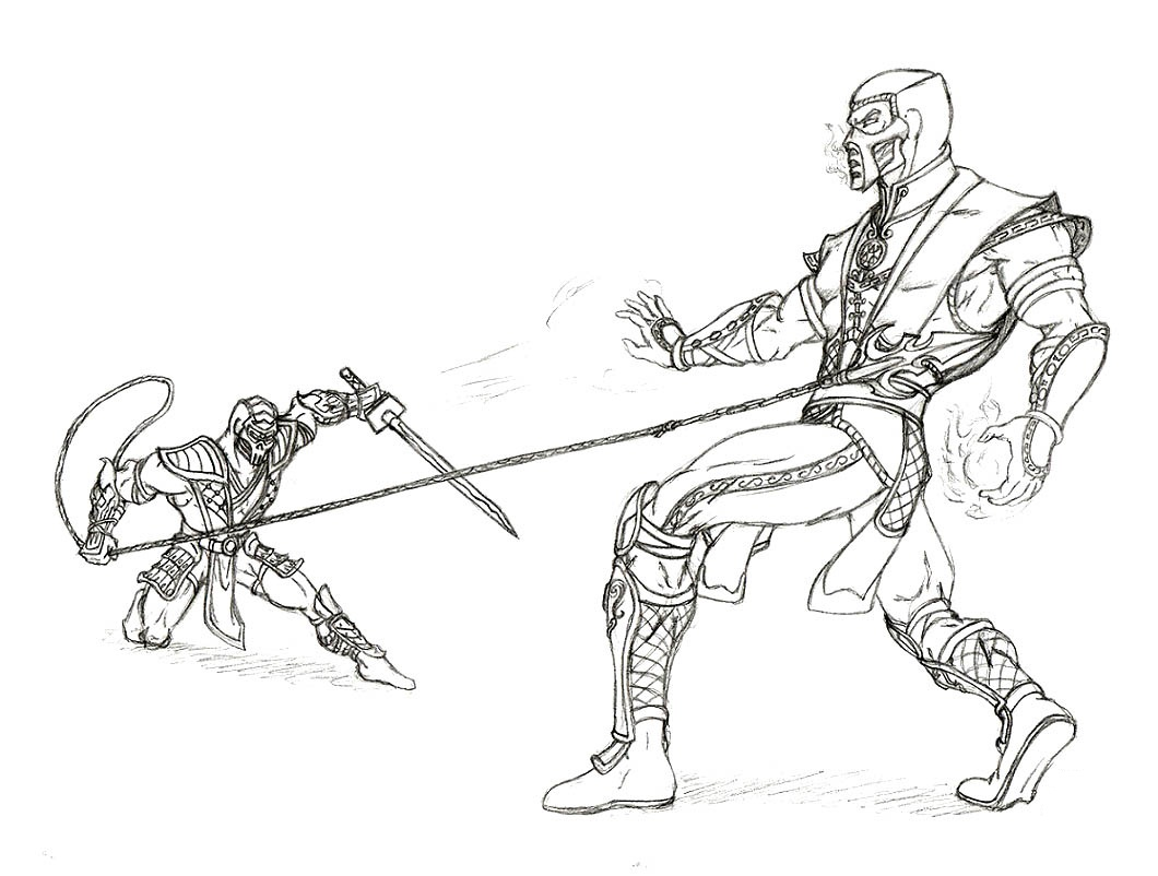 Drawn scorpion coloring page Kombat Pages Mortal Sheets Coloring