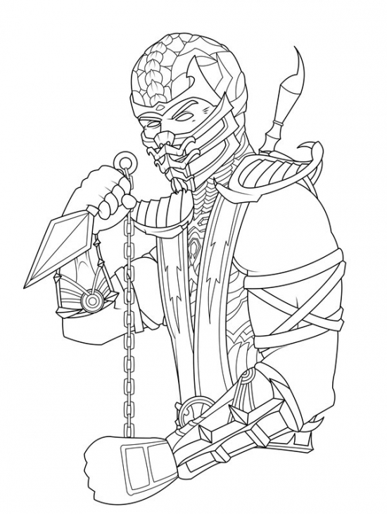 Drawn scorpion coloring page Coloring Scorpion Mortal Page Kombat
