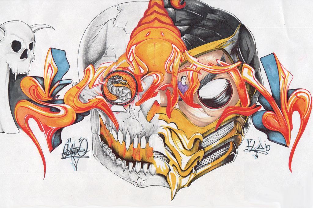 Drawn scorpion graffiti FLUBunny by Scorpion FLUBunny by