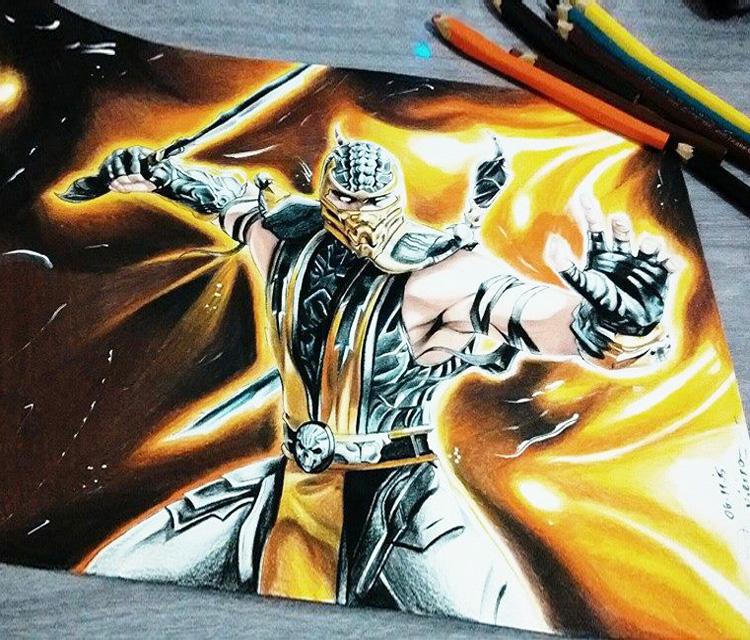 Drawn scorpion graffiti Mortal Kombat Mortal color color